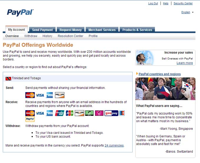 Paypal T&T services