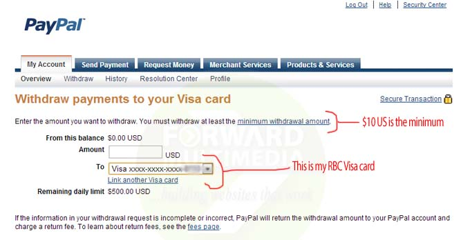 Paypal Withdraw to Credit Card